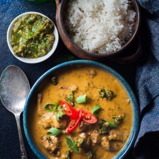 a bowl of pressure cooker beef curry with rice