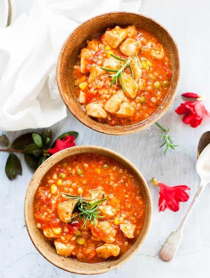 2 bowls of pressure cooker cihcken stew overhead