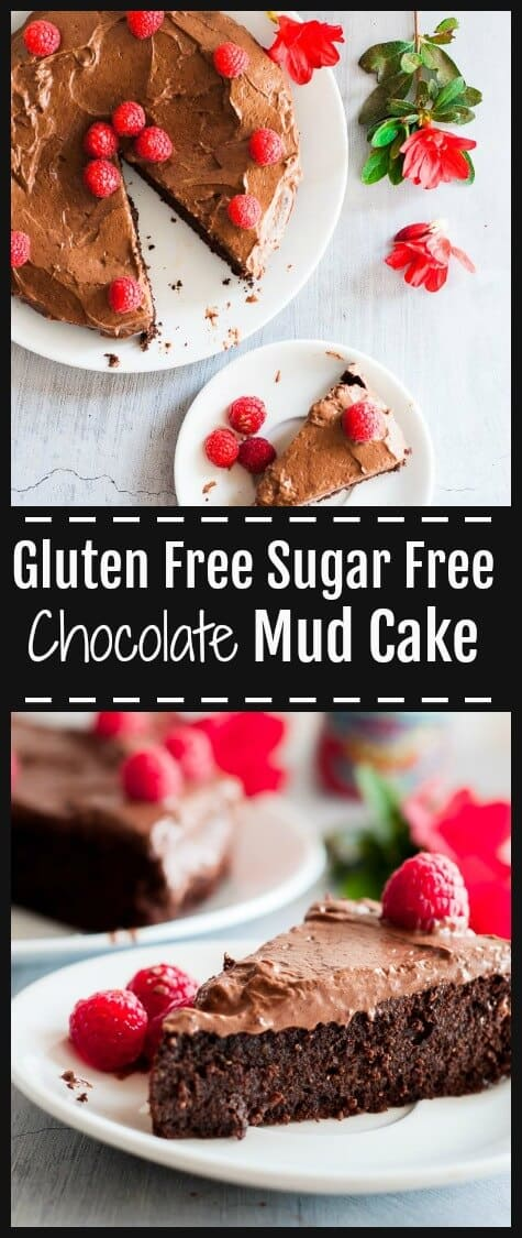 Who doesn't love a Gluten Free Mud Cake that is deliciously moist, wickedly rich, covered in soft luscious cream cheese chocolate frosting covered with fresh plump juicy raspberries.  It's free from wheat, refined sugars and is low carb.  #glutenfree #mudcake #chocolatecake #sugarfreecake #sugarfreebaking