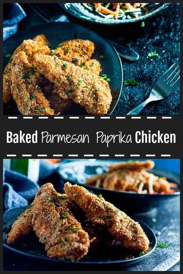 Baked Paprika Parmesan Chicken is a clean eating easy midweek meal.  Oven baked, crispy and crunchy, bursts of flavour and spices from the three different types of paprika, freshly finely grated parmesan and good old fashioned bread crumbs.  #paprikachicken #crumbedchicken