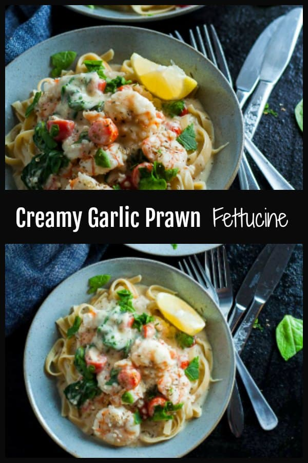 This Creamy Garlic Prawn Fettucine pasta dish is ultimate comfort food and must make Date Night deliciousness. Rich in garlic, aromatic spices, zingy lemon, and fresh, plump and juicy prawns, this is a dish you need to dig into whether its summer, winter or in between. #prawns #garlicprawns #Garlicprawnpasta