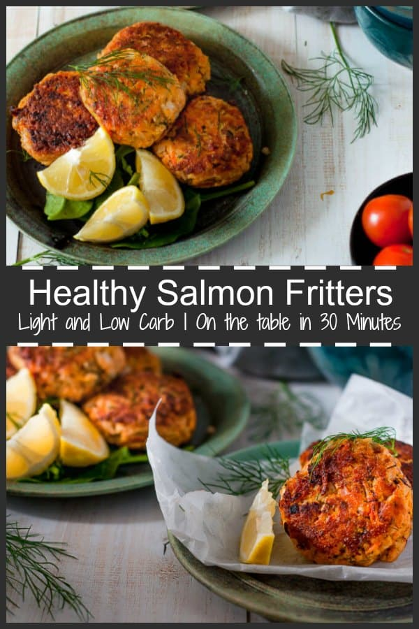 Healthy lightly fried Salmon Fritters with Crunchy Garden Salad can be on the table in less than 30 minutes.  This is an easy to make low carb, low calorie dish packed with red salmon, grated potato, carrot and zucchini, and seasoned with fresh dill and lemon juice. #salmon #fritters #salmonfritters #seafood