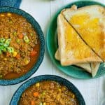 2 bowls of savour mince curry with toast