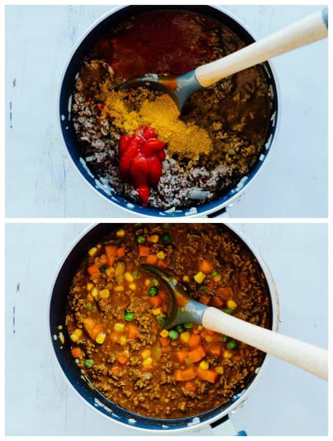 curried mince in a pot