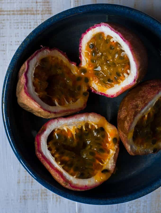 a bowl of chopped passionfruit
