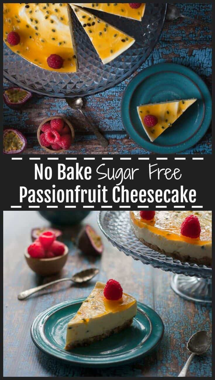 This No Bake Passionfruit Cheesecake is a sugar free lightened up, healthier version of a classic cheesecake. Naturally sweetened with stevia, it is luxuriously rich, creamy, smooth and silky with sweet tart jelly on top and a walnut and date base. #sugarfree #cheesecake #sugarfreecheesecake #healthydessert