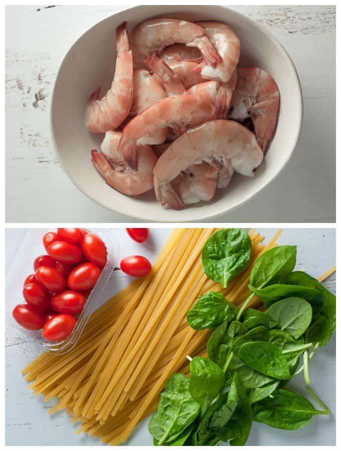 prawns, tomatoes, spinach pasta