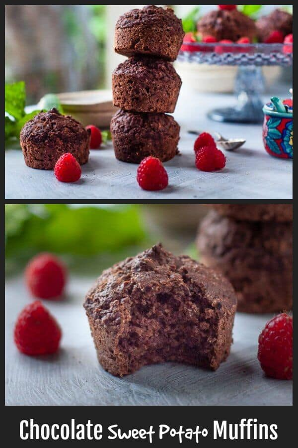 Chocolate Sweet Potato Muffins free from refined sugar | crunchy on top and lusciously soft and chocolate on the inside. High Protein. Low Calorie. #refinedsugarfree #muffins #chocolatemuffins #proteinmuffins #healthysnacks #lowcalorie | mysugarfreekitchen.com