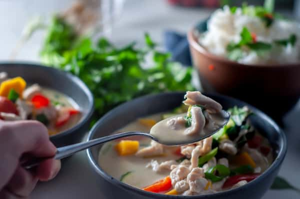 a spoonful of thai green curry with chicken