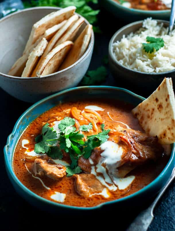 pressure cooker butter chicken with nan bread