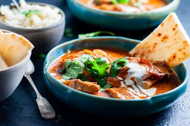 Presshire cooker butter chicken with corriander and nan bread