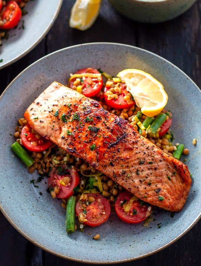 Salmon with Leeks and Lentils