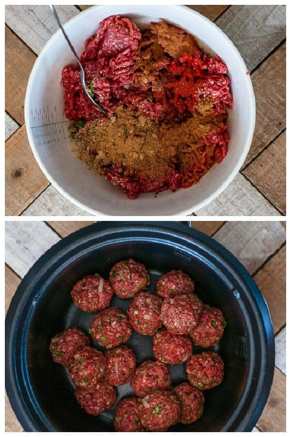preparing the meat with spices and rolling into meatballs