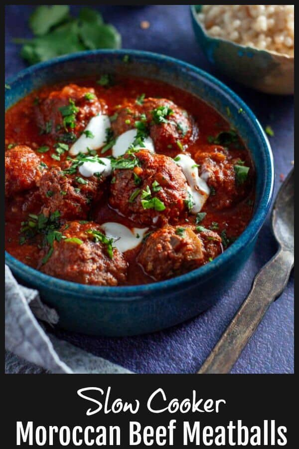 Slow Cooker Moroccan Beef Meatballs - slow cooked for 8 hours, infused  with a spice bomb of cumin, coriander, sweet paprika, cinnamon, ginger, garlic and onion that will melt in your mouth and leave you wanting more. #Meatballs #SlowCooker #HealthyComfortFood #MoroccanFood #BeefMeatballs #CleanEating www.mysugarfreekitchen.com