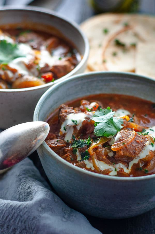A bowl of Beef Rogan Beef Josh