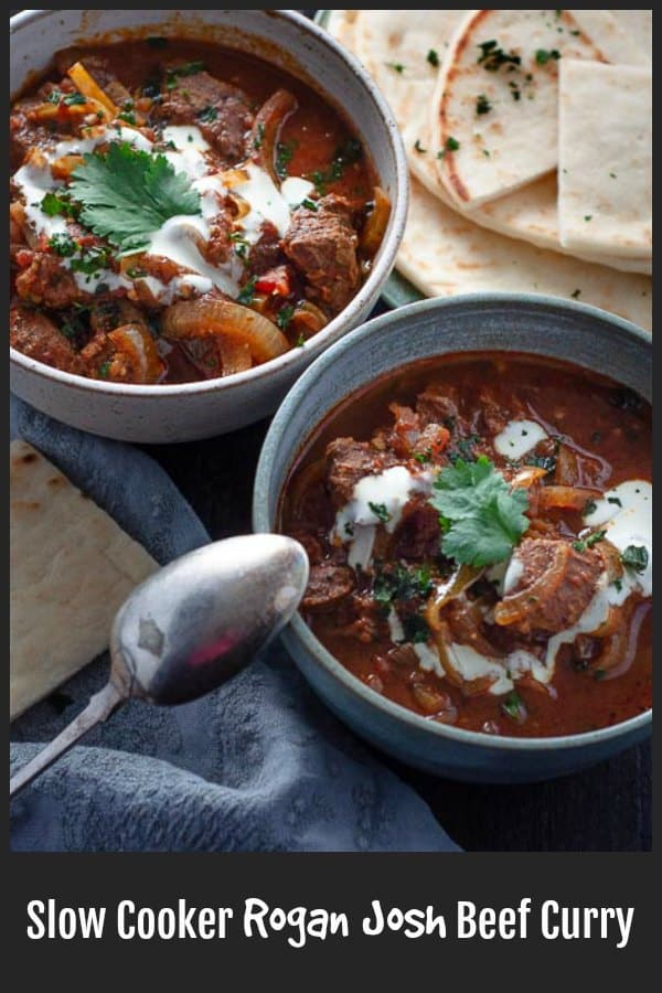 Slow Cooker Rogan Josh is an easy to make rich, thick Indian beef curry, mildly spicy, with a flavourful sauce and thick chunks of beef so tender they will melt in your mouth.