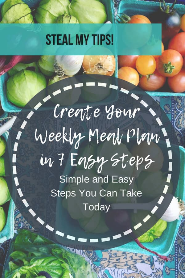 How to create your weekly meal plan in 7 easy steps.  Get my step by step guide for exactly how I do it. #mealplanning #mealplanningtips www.mysugarfreekitchen.com