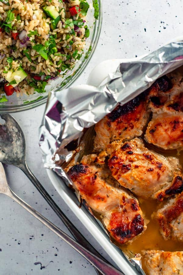 Baking tray with Chicken in greek yoghurt marinade