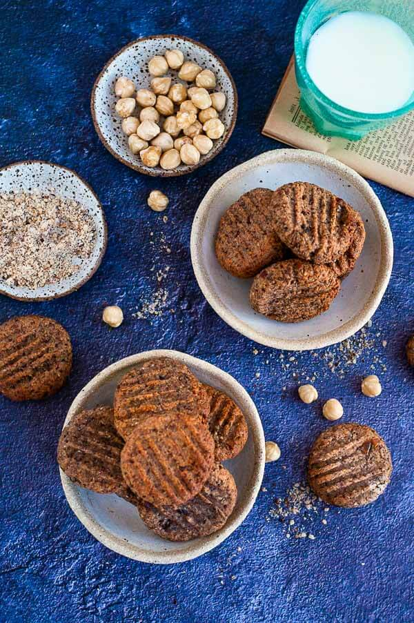 two plates of hazelnut meal cookies
