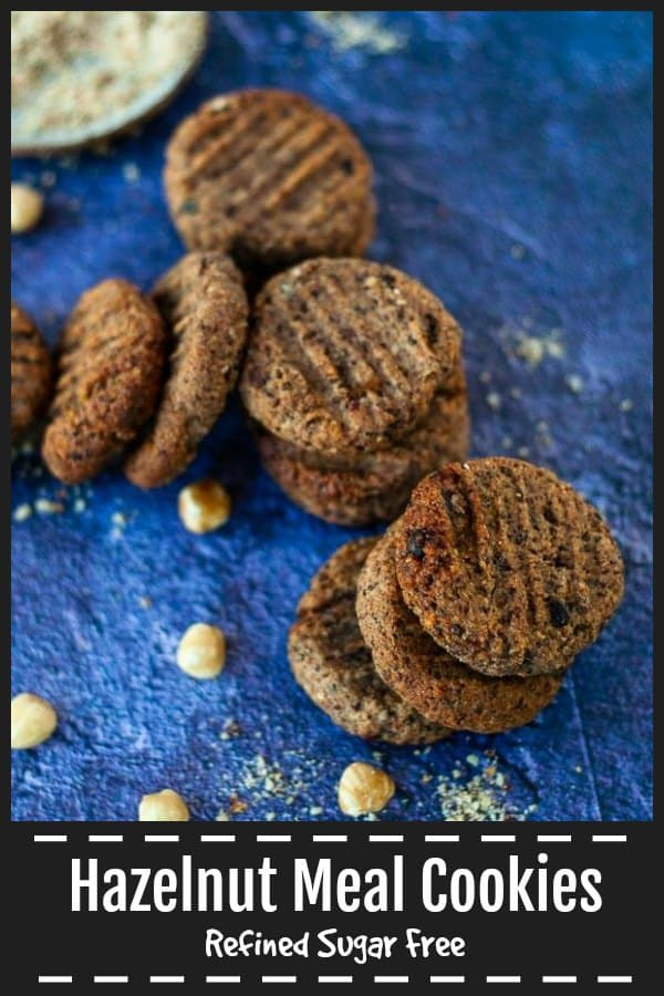 These  healthy and filling Hazelnut Meal Cookies with dates, chia and cocao nibs are refined sugar free, dairy free and each one is 6 grams of protein.  Easy to make in just 30 minutes. #healthycookies #sugarfreecookies #cookierecipe #refinedsugarfree www.mysugarfreekitchen.com