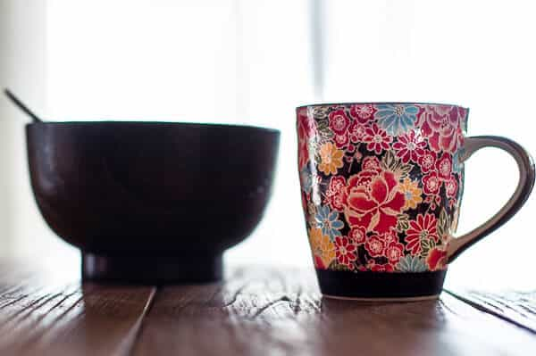 Brown bowl and japanese tea cup