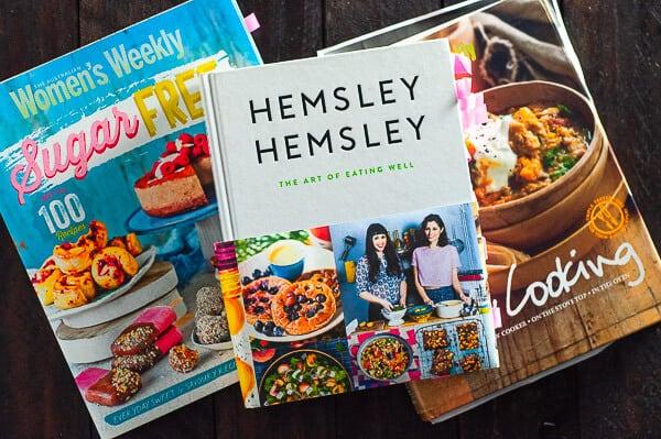 Three cookbooks scattered