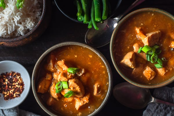 Two bowls of Pressure Cooker Apricot Chicken