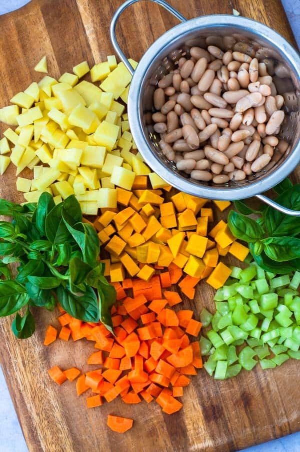 Vegetable Barley Soup chopped vegies