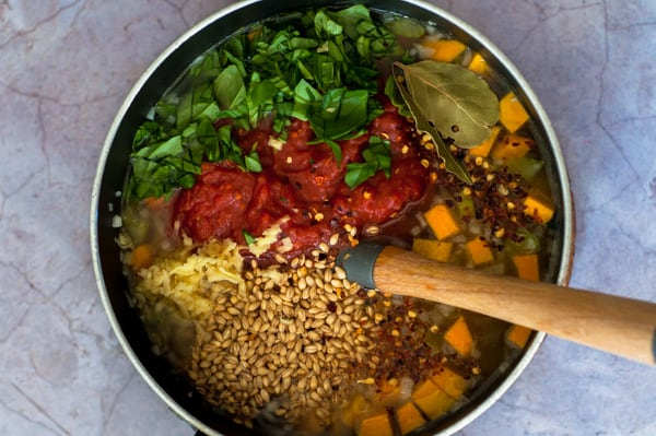 Vegetable and barley soup ingredients in a saucepan