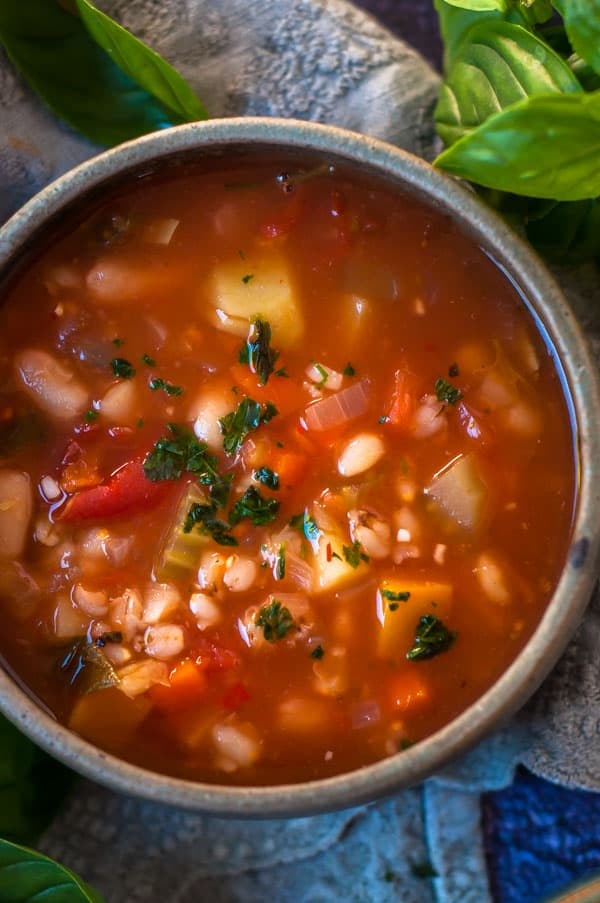 Close up of vegetable and barley soup