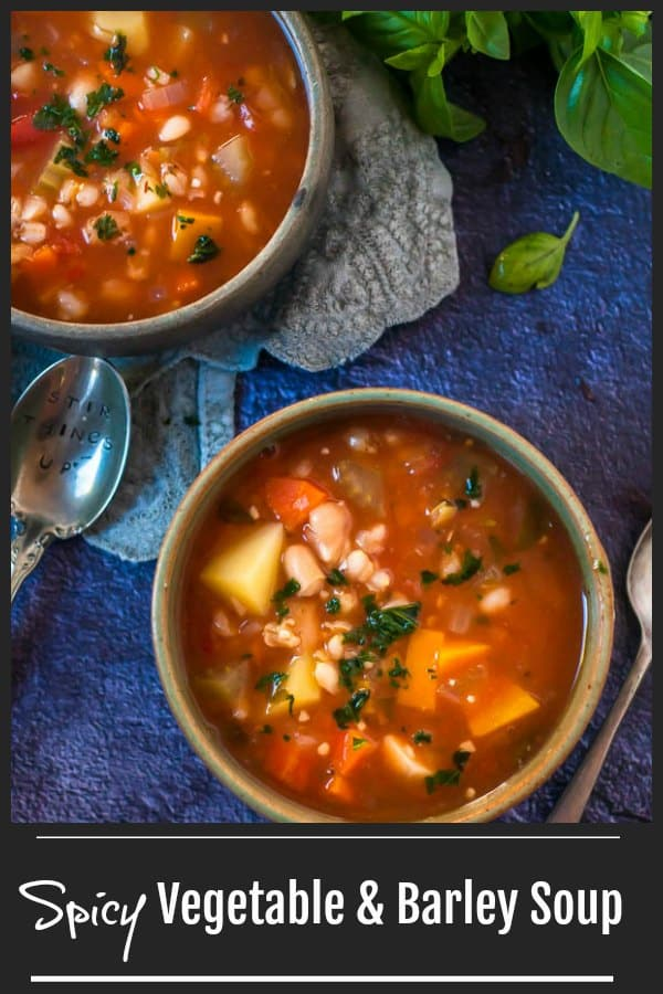 This Spicy Vegetable and Barley Soup is light, healthy, full of flavour and oh so filling.  It really is a meal on its own.  Perfect for either dinner or lunch with a slice of garlic bread. #soup #vegetariandinner #vegetarianrecipe #vegetablesoup  www.mysugarfreekitchen.com
