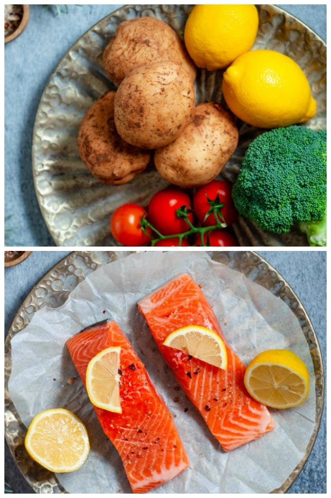 Two pieces raw salmon and raw veg