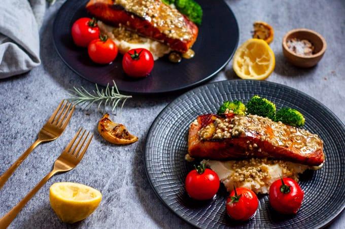 Two plates of lemon garlic butter salmon