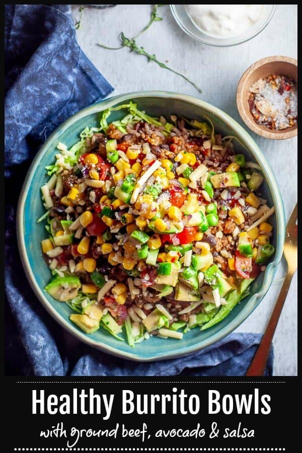This is simple midweek recipe for a Healthy Burrito Burrito Bowl using ground beef with brown rice, blackbeans, old elpaso taco sauce, seasoning, tomatoes, avocado, cheese and sour cream.  Perfect as a light dinner, and great for work lunch leftovers. #mysugarfreekitchen #mexicanrecipe #burritobowl #buritto #mexicandinner