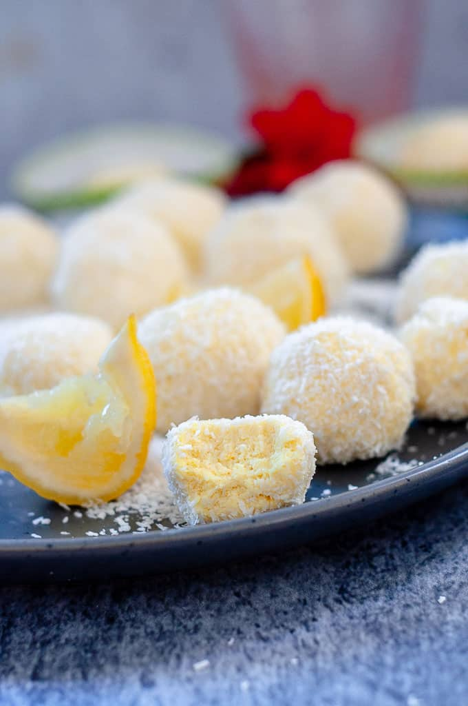 Lemon bliss balls with a bite out