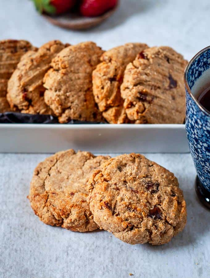 Peanut Butter Date Cookies in a white dish
