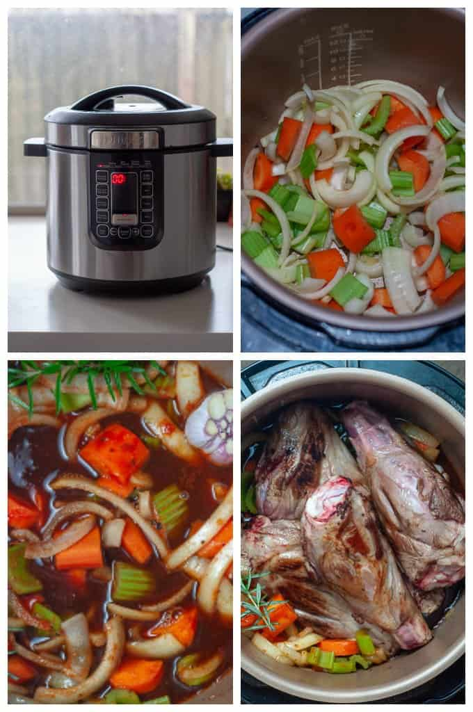 Pressure cooker lamb shank collage