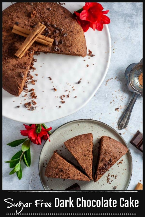 This Sugar Free Chocolate Cake is light, rich and fudgey with real chocolate for that ultimate decadent and indulgent treat that's not too sweet, yet moist and moreish.  Sweetened naturally using Stevia and sugar free chocolate, this is a cake that needs no frosting.  #mysugarfreekitchen #noaddedsugar #chocolatecake #refinedsugarfree #sugarfree #healthydessert #healthysnack #cleaneating