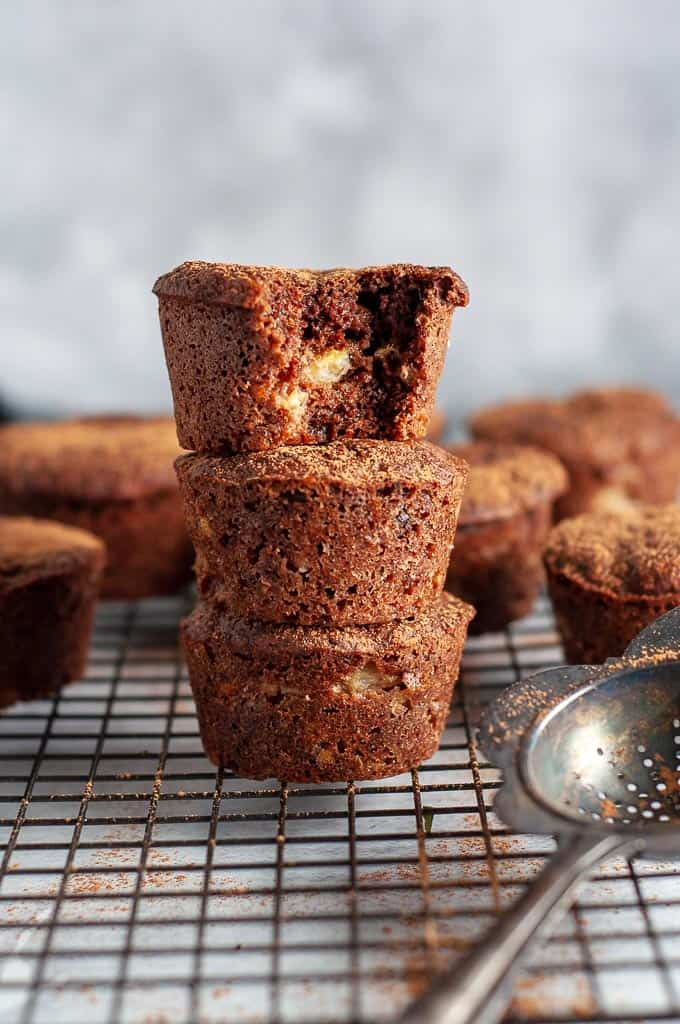3 stacked Double Chocolate Banana Muffins