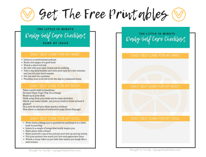Daily self care checklist printables