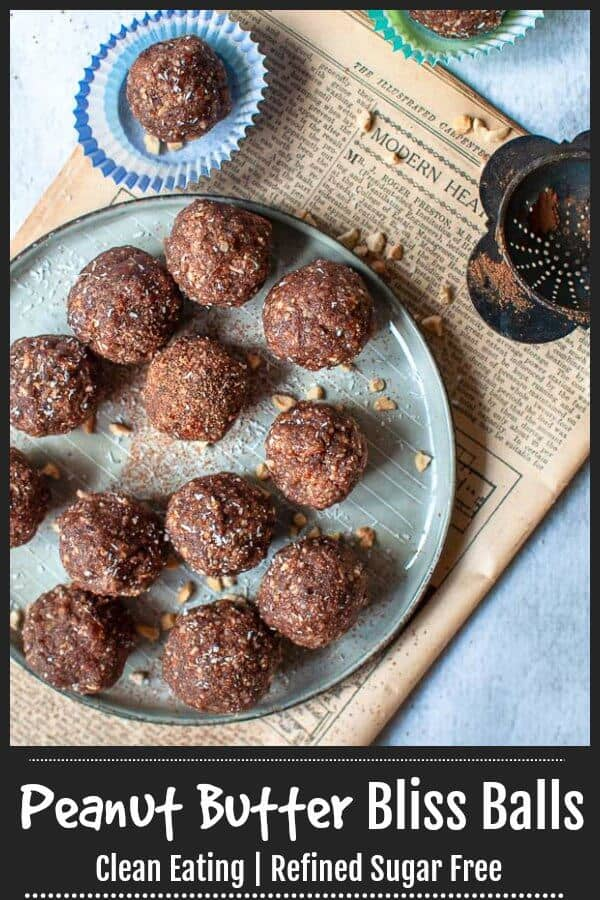 Clean eating Date Sweetened Peanut Butter Bliss Balls made with natural no added sugar peanut butter, almond meal, walnuts, shredded coconut, and unsweetened Cocoa Powder.  #blissballs #mysugarfreekitchen #refinedsugarfree #peanutbutter  #nobake #healthysnacks