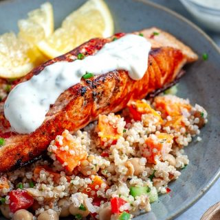 Salmon quinoa salad with creamy dressing
