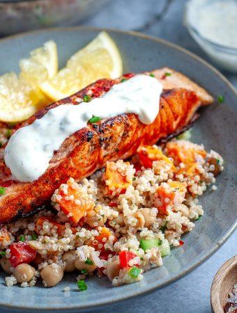 Salmon quinoa salad with creamy dressing