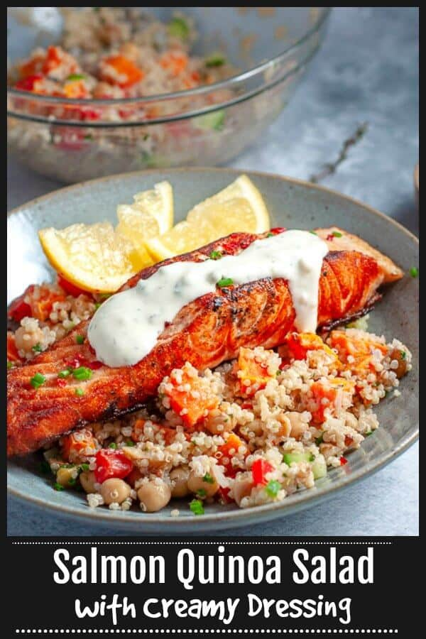 Easy pan fried crispy and crunchy Salmon Quinoa Salad with a light creamy dressing, perfect for an easy dinner, or lunch.  On the table in 30 minutes, its healthy and filling and makes for great leftovers. #mysugarfreekitchen #salmon #Quinoa #Salad #Salmonsalad #quinoasalad #cleaneating