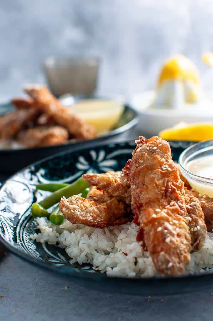 A bowl of oven baked asian lemon chicken tenders