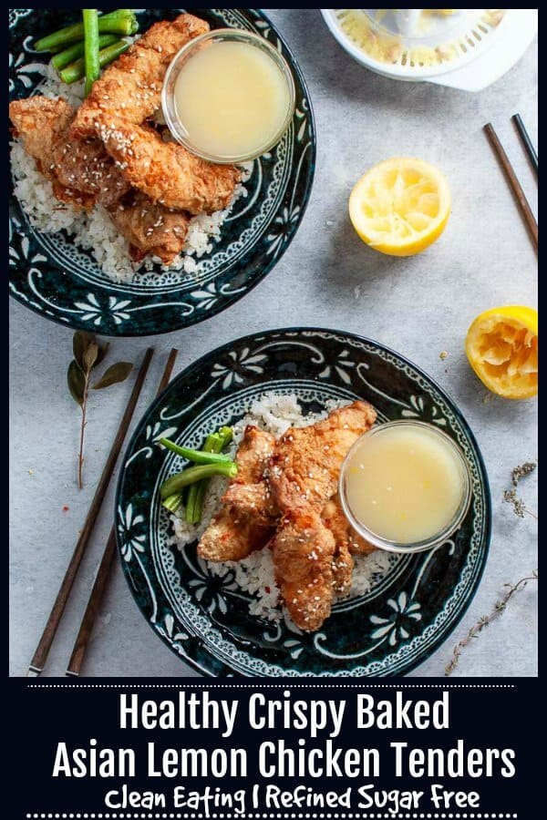 These crispy, crunchy golden Asian Lemon Chicken Tenders are oven baked, low fat and low in sugar.  The sticky lemon sauce is sweetened with raw honey and contains no refined white sugars.  It tastes like the real thing and you wouldn't know it's a healthier version of your favourite. #cleaneatingrecipes #cleaneating #mysugarfreekitchen #asianchicken #lemonchicken #bakedchicken