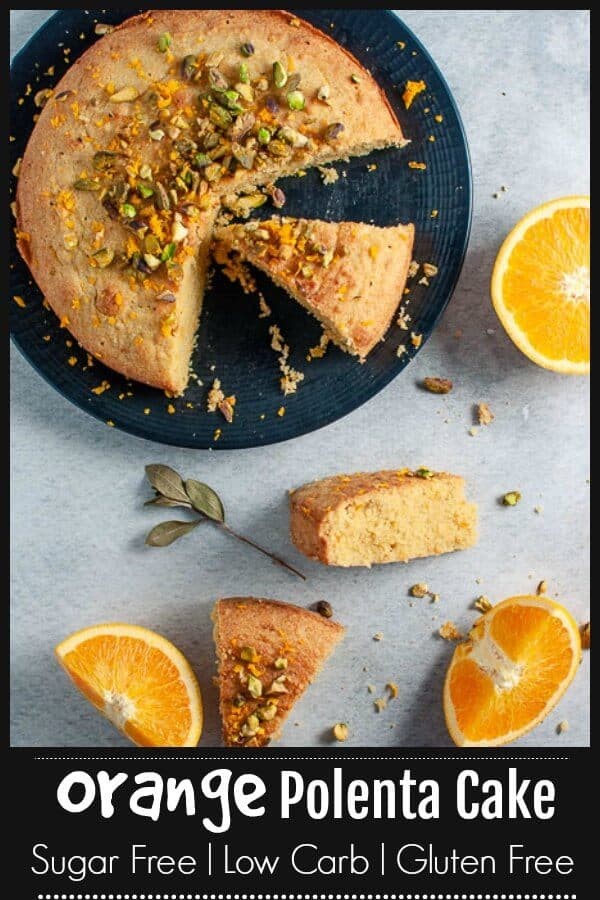 Refined sugar free, low carb, gluten free clean eating healthy Orange Polenta Cake with orange syrup. Its easy to make, super moist and freezes well. A perfect clean eating cake suitable for everyone.  #cleaneating #cleaneatingbaking #orangecake #polentacake #mysugarfreekitchen #sugarfree #sugarfreebaking