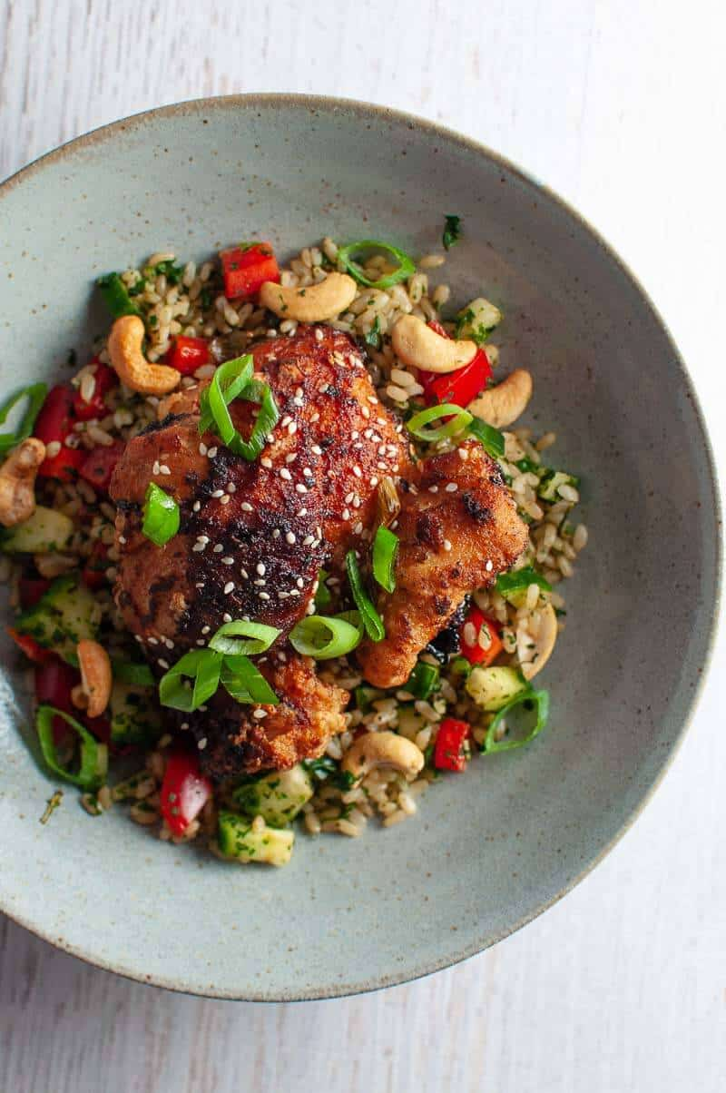 Sticky asian glazed chicken with herb rice