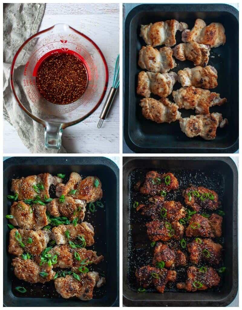 Sticky asian glazed chicken-collage