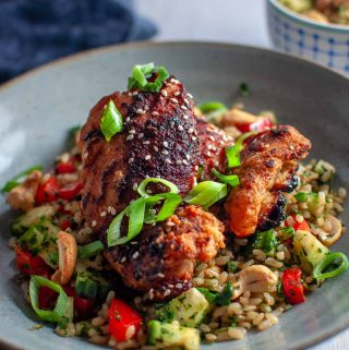 Sticky asian glazed chicken-featured